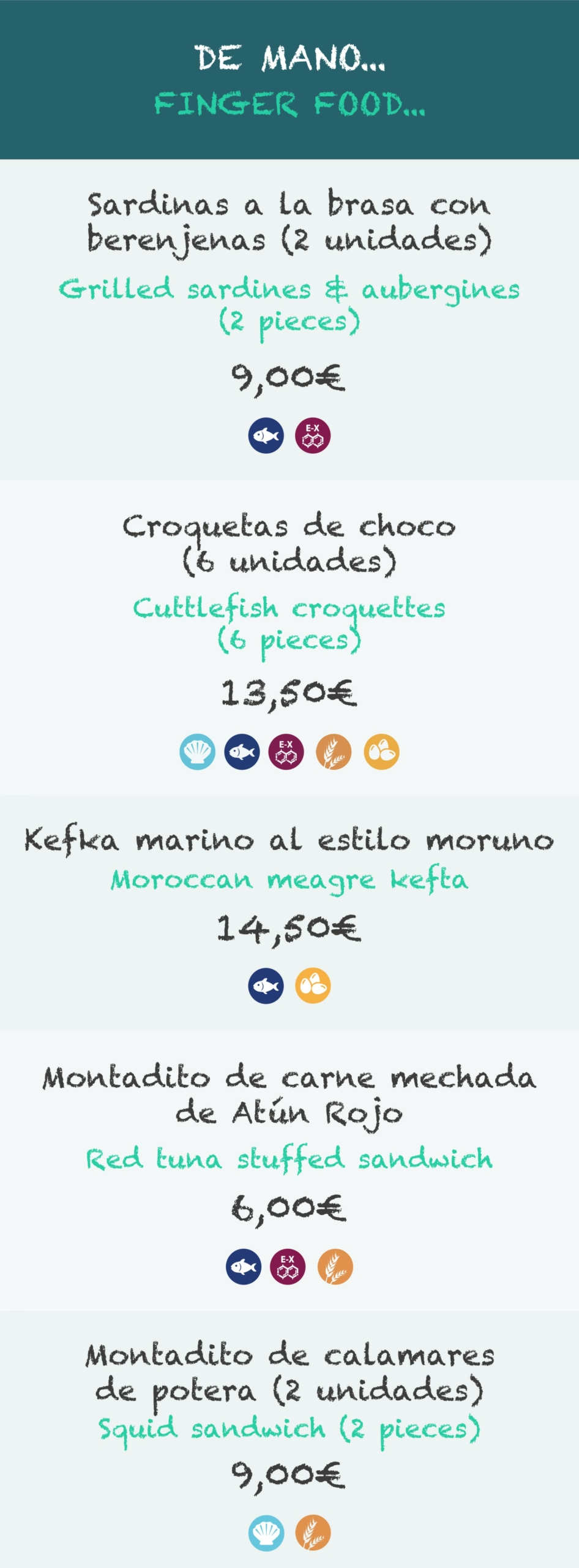 La Taberna Del Chef Del Mar | Carta